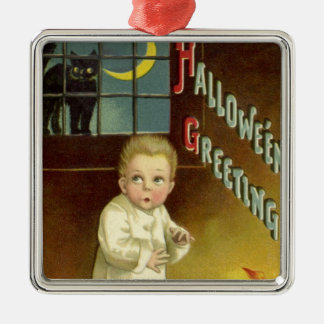 Vintage Halloween, Scared Boy with Black Cat Square Metal Christmas Ornament