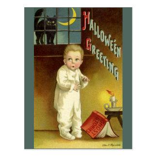Vintage Halloween, Scared Boy with Black Cat Postcard