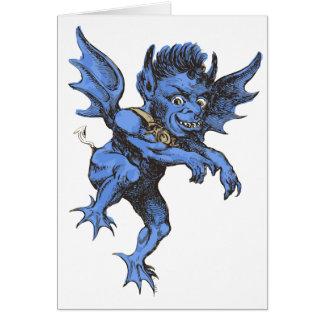 Vintage Halloween, Scary Evil Gargoyle Demon Greeting Card