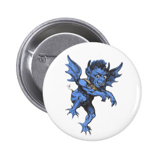 Vintage Halloween, Scary Evil Gargoyle Demon Pinback Button