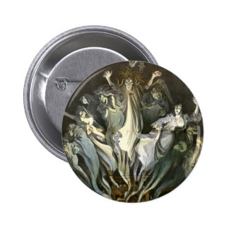 Vintage Halloween, Scary Ghosts and Skeleton Music 2 Inch Round Button