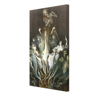 Vintage Halloween, Scary Ghosts and Skeleton Music Canvas Print