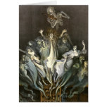 Vintage Halloween, Scary Ghosts and Skeleton Music Greeting Card