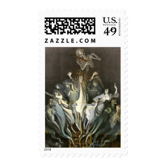 Vintage Halloween, Scary Ghosts and Skeleton Music Postage Stamps