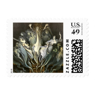 Vintage Halloween, Scary Ghosts and Skeleton Music Postage Stamp