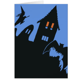Vintage Halloween, Scary Haunted House and Witch Card