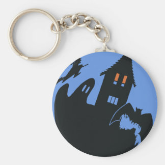 Vintage Halloween, Scary Haunted House and Witch Keychain