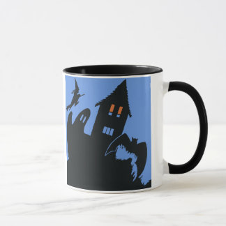 Vintage Halloween, Scary Haunted House and Witch Mug