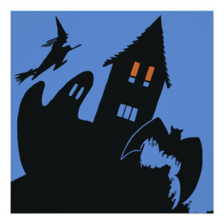 Vintage Halloween, Scary Haunted House and Witch Poster