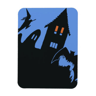 Vintage Halloween, Scary Haunted House and Witch Rectangular Photo Magnet