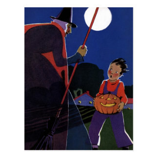 Vintage Halloween Scary Witch Broom Boy Full Moon Post Card