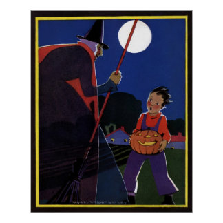 Vintage Halloween Scary Witch Broom Boy Full Moon Poster