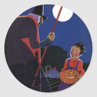Vintage Halloween Scary Witch Broom Boy Full Moon Round Stickers