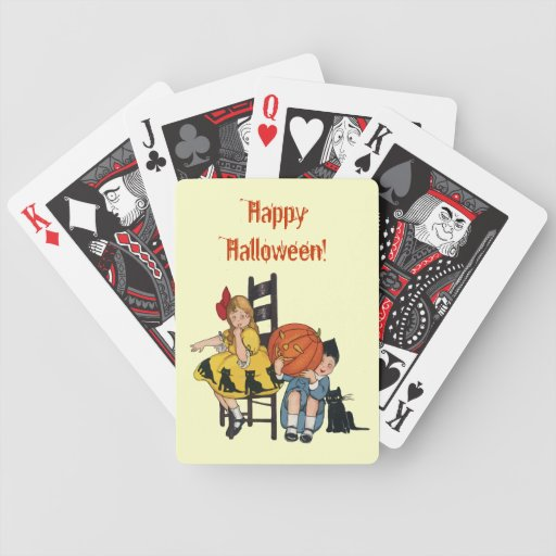 Vintage Halloween Scene Bicycle Playing Cards