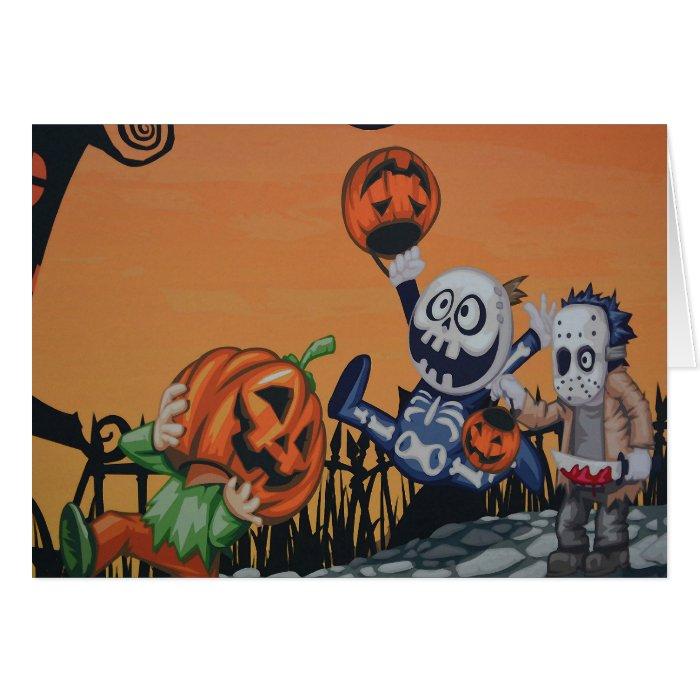 Vintage Halloween Scene Card