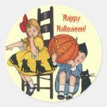 Vintage Halloween Scene Classic Round Sticker
