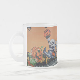 Vintage Halloween Scene Frosted Glass Coffee Mug