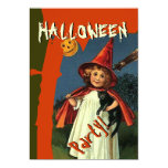 Vintage Halloween Scene Girl Cat Pumpkin Moon V2 Personalized Announcements