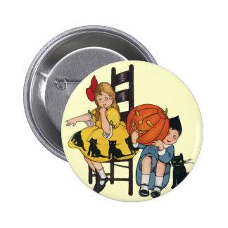 Vintage Halloween Scene Pinback Buttons
