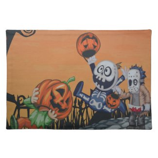 Vintage Halloween Scene Placemats