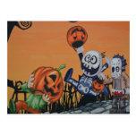Vintage Halloween Scene Postcard