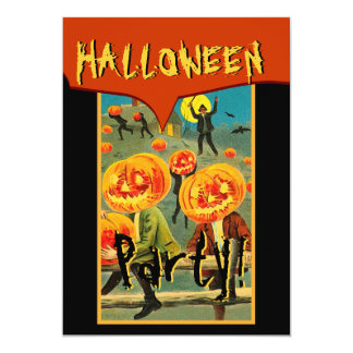 Vintage Halloween Scene Pumpkins Everywhere Card