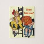 Vintage Halloween Scene Puzzles
