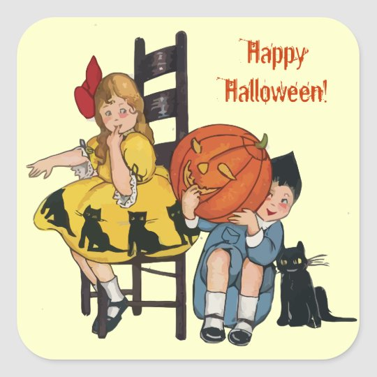 Vintage Halloween Scene Square Sticker