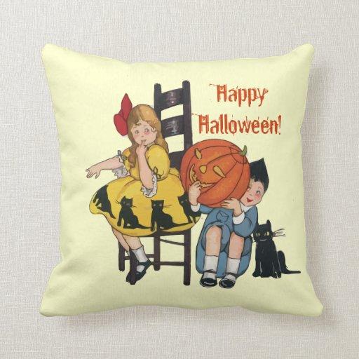 Vintage Halloween Scene Throw Pillows