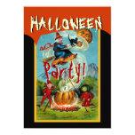 Vintage Halloween Scene Witch Cat Pumpkin Moon Announcements