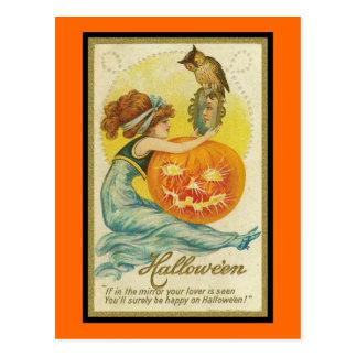 Vintage Halloween si en el espejo Postales