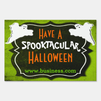 Vintage Halloween Sign With Ghosts