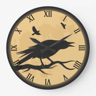 Vintage Halloween Silhouette Design Large Clock
