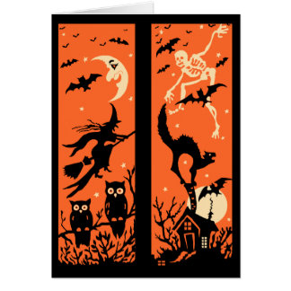 Vintage Halloween Silhouette Illustration Card