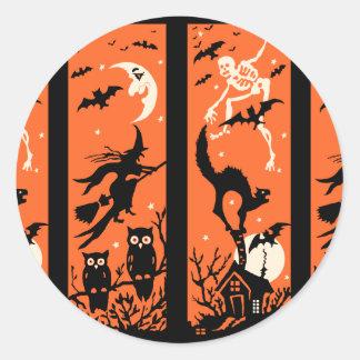 Vintage Halloween Silhouette Illustration Classic Round Sticker