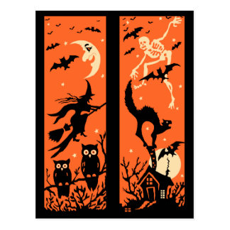 Vintage Halloween Silhouette Illustration Postcard