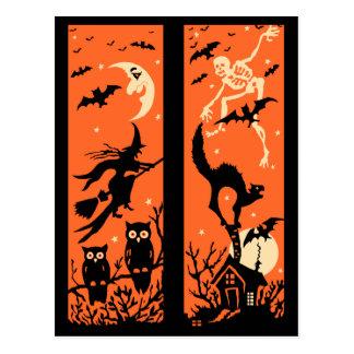 Vintage Halloween Silhouette Illustration Post Cards
