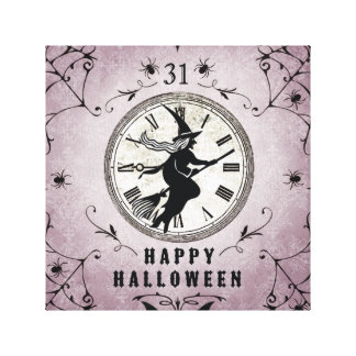 Vintage Halloween silhouette stretched canvas