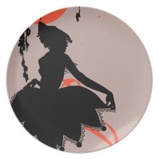Vintage Halloween Silhouette Woman Melamine Plate
