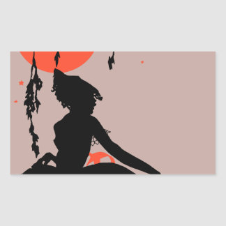 Vintage Halloween Silhouette Woman Rectangular Sticker
