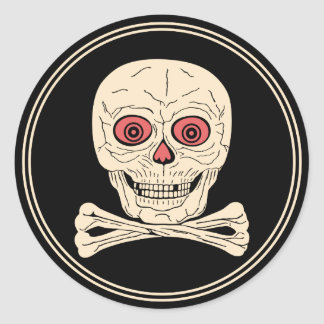Vintage Halloween Skull & Crossbones Classic Round Sticker