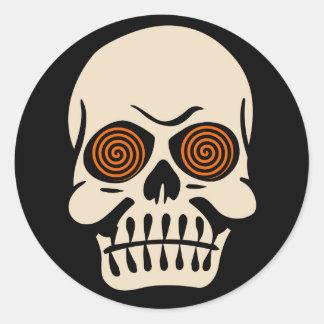 Vintage Halloween Skull with Hypnotizing Eyes Classic Round Sticker