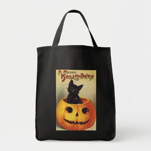 Vintage Halloween Smiling Cute Black Cat Pumpkin Canvas Bags