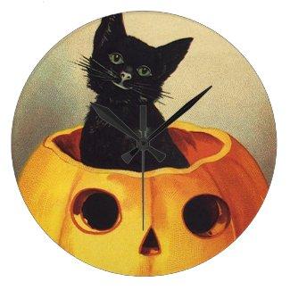 Vintage Halloween Smiling Cute Black Cat Pumpkin