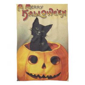 Vintage Halloween Smiling Cute Black Cat Pumpkin Kitchen Towel