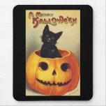 Vintage Halloween Smiling Cute Black Cat Pumpkin Mouse Pads