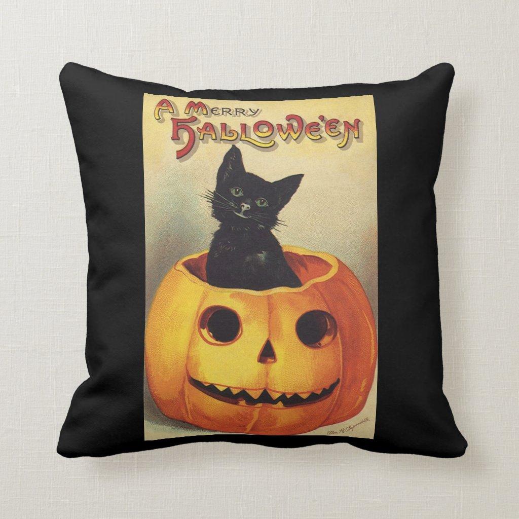 Vintage Halloween Smiling Cute Black Cat Pumpkin Pillow
