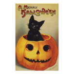 Vintage Halloween Smiling Cute Black Cat Pumpkin Poster