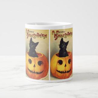 Vintage Halloween Smiling Cute Black Cat Pumpkin Extra Large Mug