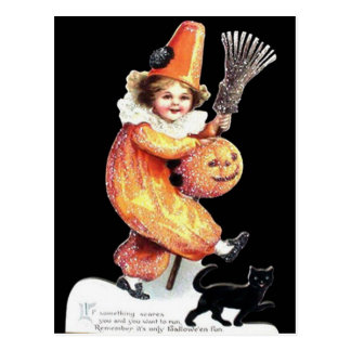 Vintage Halloween Sparkling Costume Party Postcard